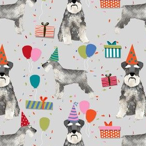 schnauzer birthday party dog breed fabric grey