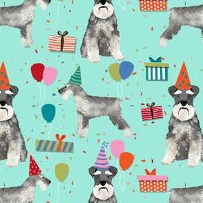 schnauzer birthday party dog breed fabric mint