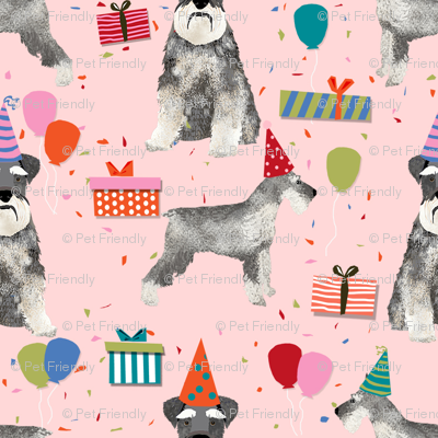 schnauzer birthday party dog breed fabric pink