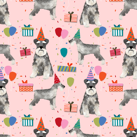 schnauzer birthday party dog breed fabric pink fabric by petfriendly on Spoonflower - custom fabric