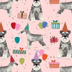 schnauzer birthday party dog breed fabric pink