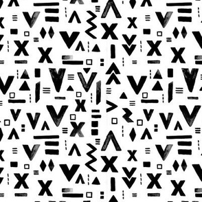 Watercolor abstract geometric details and arrows aztec abstract pattern monochrome black and white