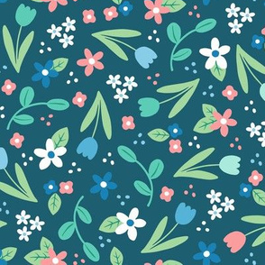 Ditsy Spring Flowers Blue - larger scale