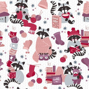 Hygge raccoon II // white background red pink and purple wool