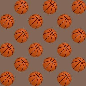 One Inch Basketball Balls on Taupe Brown