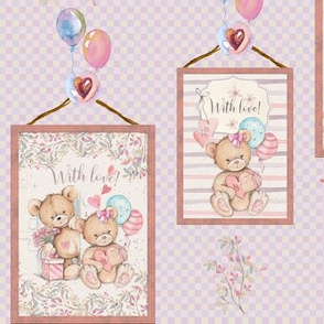FRAMED STUFFED TEDDY BEARS AND BALLOONS PINK ON PINK