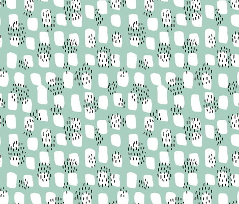 Abstract Scandinavian white spots textured raw brush and ink strokes mint green fabric by littlesmilemakers on Spoonflower - custom fabric