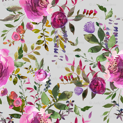 """21"""" dark pink purple hues florals with light grey"""