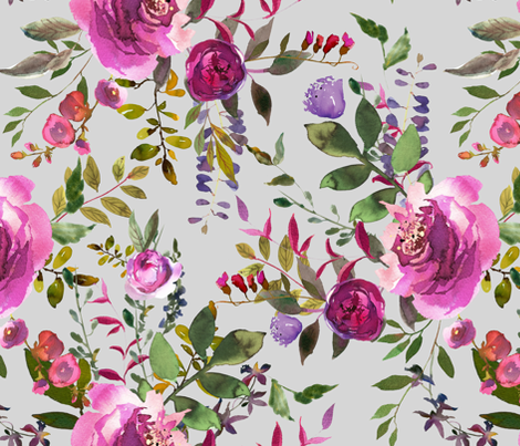 """21"""" dark pink purple hues florals with light grey fabric by shopcabin on Spoonflower - custom fabric"""