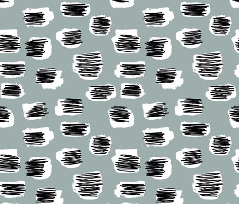 Modern abstract trend Scandinavian style brush spots and scribblings raw ink stone gray fabric by littlesmilemakers on Spoonflower - custom fabric