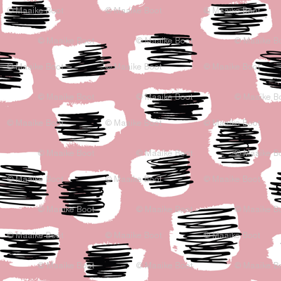 Modern abstract trend Scandinavian style brush spots and scribblings raw ink pink