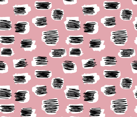 Modern abstract trend Scandinavian style brush spots and scribblings raw ink pink fabric by littlesmilemakers on Spoonflower - custom fabric
