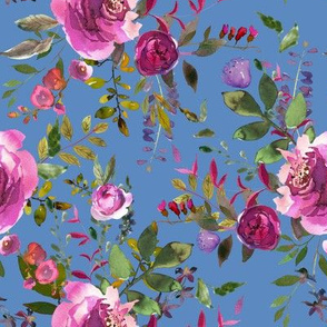 """8"""" DARK PINK AND PURPLE HUES FLORALS BLUE"""