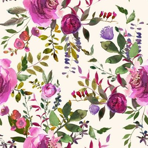 """8"""" DARK PINK AND PURPLE HUES FLORALS IVORY"""