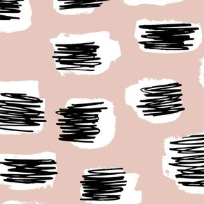 Modern abstract trend Scandinavian style brush spots and scribblings raw ink beige