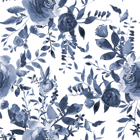 "8"" Blue and White Florals fabric by shopcabin on Spoonflower - custom fabric"