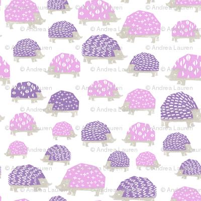 linocut hedgehog // fabric nursery kids woodland nature animals purples
