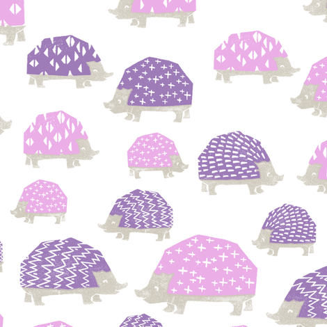 linocut hedgehog // fabric nursery kids woodland nature animals purples fabric by andrea_lauren on Spoonflower - custom fabric