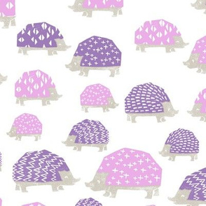 linocut hedgehog // fabric nursery kids woodland nature animals purples