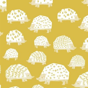 linocut hedgehog // fabric nursery kids woodland nature animals mustard