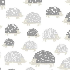linocut hedgehog // fabric nursery kids woodland nature animals white grey