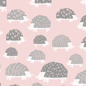 linocut hedgehog // fabric nursery kids woodland nature animals pink grey