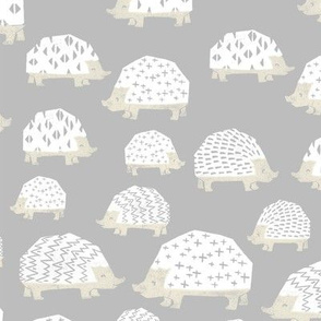 linocut hedgehog // fabric nursery kids woodland nature animals grey