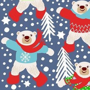 Polar Bears,  fair isle, snow dancing winter wonderland,  winter  Snow