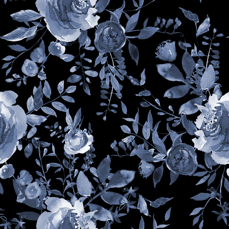 "8"" Blue Florals / Black fabric by shopcabin on Spoonflower - custom fabric"