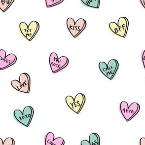 valentines candy hearts cute valentines day fabric love white