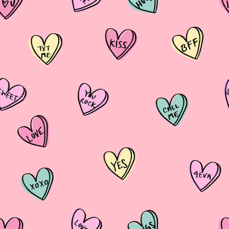 valentines candy hearts cute valentines day fabric love pink fabric by charlottewinter on Spoonflower - custom fabric