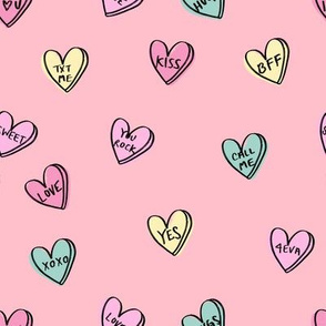 valentines candy hearts cute valentines day fabric love pink