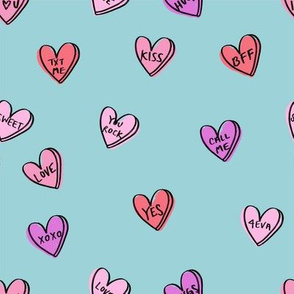 valentines candy hearts cute valentines day fabric love blue