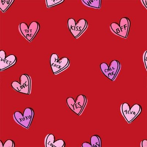 valentines candy hearts cute valentines day fabric love red