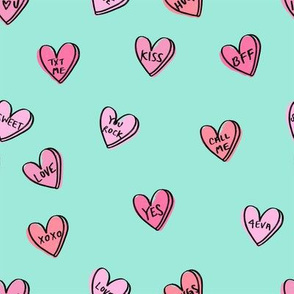 valentines candy hearts cute valentines day fabric love mint