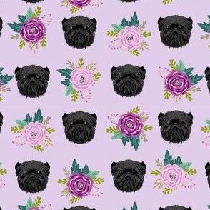 affenpinscher sunflower floral dog fabric pattern dog heads purple