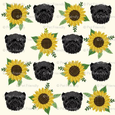 affenpinscher sunflower floral dog fabric pattern dog heads cream