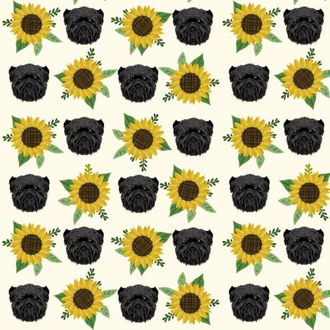 affenpinscher sunflower floral dog fabric pattern dog heads cream fabric by petfriendly on Spoonflower - custom fabric