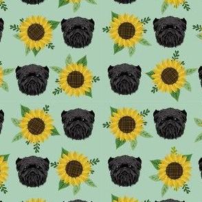 affenpinscher sunflower floral dog fabric pattern dog heads light green