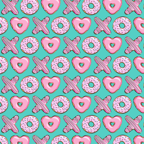(extra small scale) X O  heart shaped donuts - xo heart donuts on dark teal  fabric by littlearrowdesign on Spoonflower - custom fabric