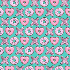 (extra small scale) X O  heart shaped donuts - xo heart donuts on dark teal