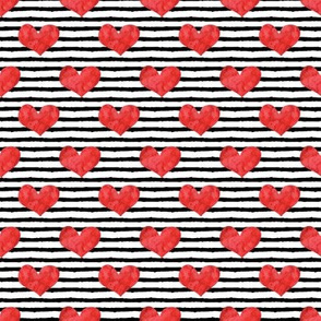(small scale) watercolor hearts - red || stripes