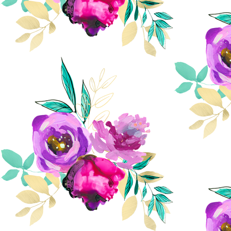 "Purple and Gold Floral Bouquet 3 6"" fabric by greenmountainfabric on Spoonflower - custom fabric"