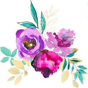 """Purple and Gold Floral Bouquet 3 6"""""""