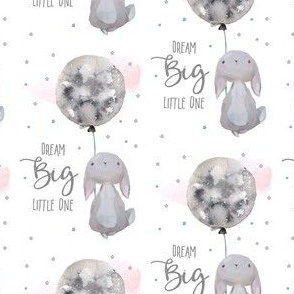 DReam Big little one bunny with Pink Clouds