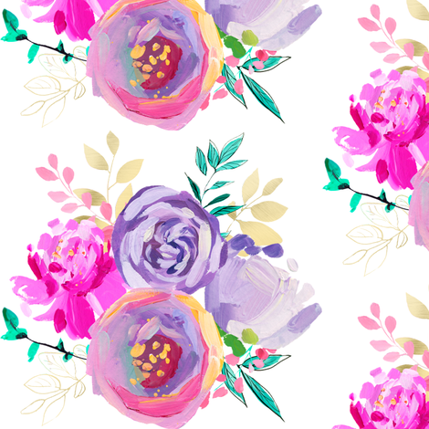 """Purple and Gold Floral Bouquet 1 6"""" fabric by greenmountainfabric on Spoonflower - custom fabric"""