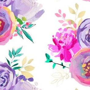 """Purple and Gold Floral Bouquet 1 6"""""""