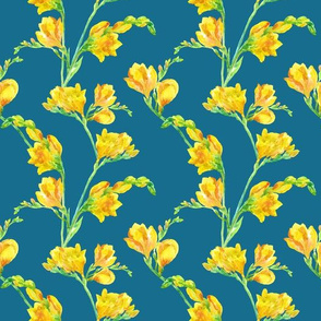 Yellow flowers on sea-green color seamless pattern