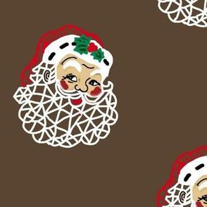 Christmas Geometric Santa in Manger Brown Brown