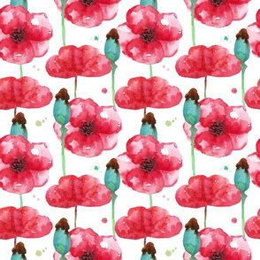 Poppy watercolor seamless background